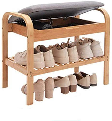 EAHKGmh Shoe Rack Bench Storage Shoe Cabinet with Seat and Cushion Hallway Bedroom Living Room Furniture (Color : A, Size : 60cm*33cm*50cm)