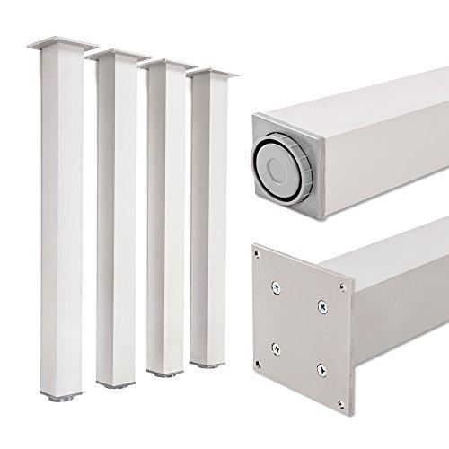 Tischbeine 100% Aluminium, höhenverstellbar | Sossai® Exklusiv E4TBAL | Ausführung: Aluminium eloxiert, Vierkant | Set: 4 Stück | Höhe: 71 cm (710 mm), einstellbar + 2 cm