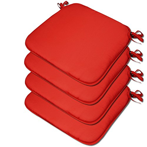 Beautissu 4 x Padded Seat Cushions - Plain Design 38x38x2cm - The Turin Range - Colour Red