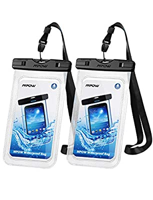 "Mpow 097 Universal Waterproof Case, IPX8 Waterproof Phone Pouch Dry Bag Compatible for iPhone 11/11 Pro Max/Xs Max/XR/X/8/8P Galaxy up to 6.8"", Phone Pouch for Beach Kayaking Travel or Bath (2 Pack)"