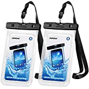 """Mpow 097 Universal Waterproof Case, IPX8 Waterproof Phone Pouch Dry Bag Compatible for iPhone 11/11 Pro Max/Xs Max/XR/X/8/8P Galaxy up to 6.8"""", Phone Pouch for Beach Kayaking Travel or Bath (2 Pack)"""