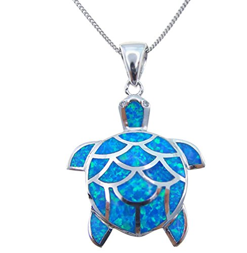 OMZBM Blue Fire Opal Sea Turtle Necklace Created 925 Sterling Silver Hypoallergenic Pendant Clavicle Chain Plating Platinum Gold Women