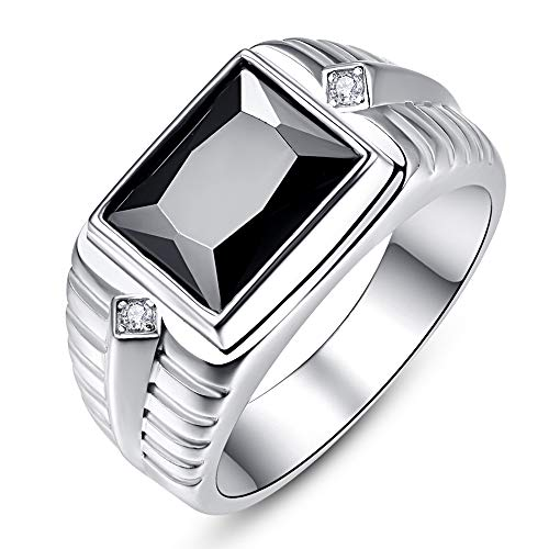 BONLAVIE Signet Ring May Birthstone Simulated Green Emerald Black Onyx Ring Rhodium Plating Solid 925 Sterling Silver Wedding Bands for Men Size 8…