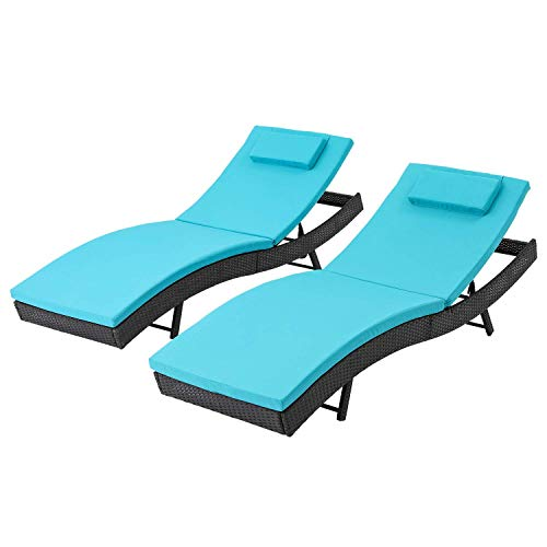 SOLAURA Patio Outdoor Furniture Adjustable Chaise Lounge-Black All Weather Wicker and Thick Blue Cushion Sofa Couch Bed, 2 Pack