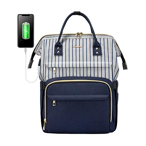 Laptop Backpack for Women Work Laptop Bag Stylish Teacher Backpack Business Computer Bags College Laptop Bookbag, Stripe-Navy
