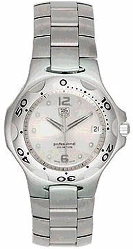 Tag heuer, orologio per uomo,  in acciaio inossidabile spazzolato, e circondato da una ghiera girevole WL111E.BA0700