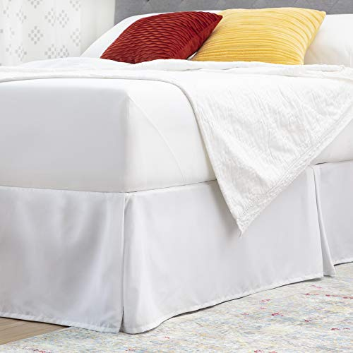 Linenspa 14 InchMicrofiber Wrinkle andFade Resistant-Machine Washable-Easy Use Pleated Bed Skirt, Queen, White