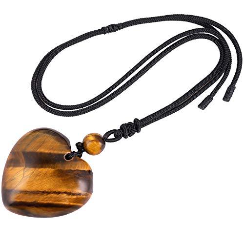 mookaitedecor herzförmige Geschnitzte Steinketten, Klassische Tigerauge Anhänger Charm Halskette für Frauen