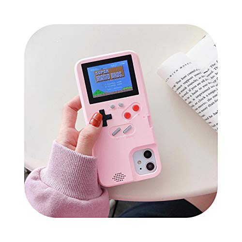 Funda para iPhone 11 Gameboy 6 7 8 Plus X XS XR XS MAX 12 PRO MINI Juegable Game Boy Cover para iPhone 12 Pro Max Case Rosa