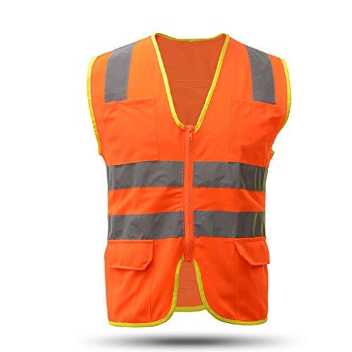 ZHongWei - BAU Weste Warnweste, Multi-Tasche Elektrische Weste Baugewerbe Baustelle Arbeitssicherheit Kleidung-Eisen BAU ^ - ^ (Size : XL)