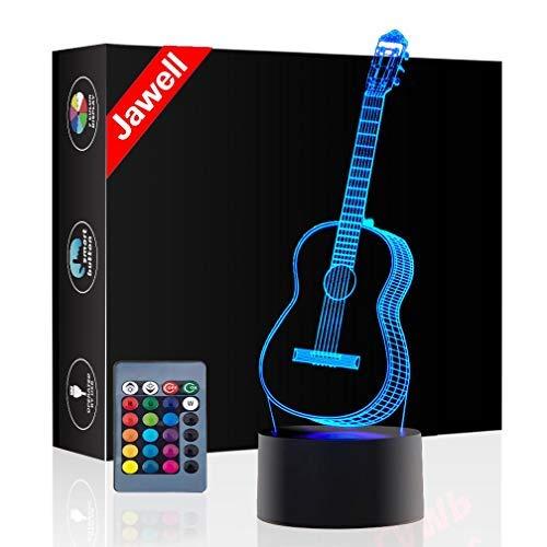 Gitarre Geschenk Nachtlicht 3D neben Tischlampe Illusion, Jawell 16 Farben ändern Touch Switch Schreibtisch Dekoration Lampen Geburtstag Weihnachtsgeschenk mit Acryl Flat & ABS Base & USB Kabel