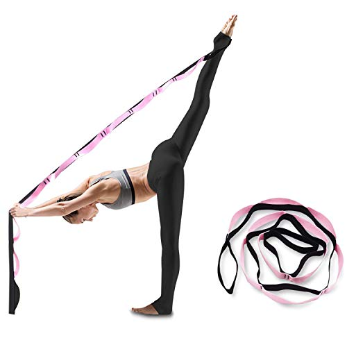 Elite Gainz Yoga Stretching Strap with 10 Loops, Made with Thick Cotton. Exercise Yoga Stretch Band for Hot Yoga, Physical Therapy, Rehabilitation, Greater Flexibility & Fitness Workout, (Black) by ELITEGAINZ