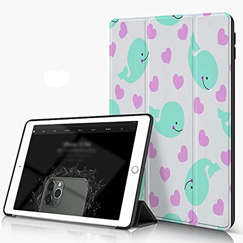 She Charm Carcasa para iPad 10.2 Inch, iPad Air 7.ª Generación,Bandera Colorida de Ballenas con Patrones de Peces y Flores,Incluye Soporte magnético y Funda para Dormir/Despertar