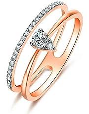 Ribivaul 指輪 リング レディース シルバー925 金属アレルギー対応 K18ピンクゴールドメッキ 三角 CZダイヤモンド バンドリング アクセサリー プレゼント ギフトボックス付き