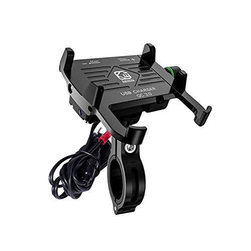 YGL - Soporte de teléfono para moto, aleación de aluminio, cargador USB/QC 3.0 con interruptor, resistente al agua y duradero, utilizado para cualquier teléfono móvil entre 3,5 y 7 pulgadas