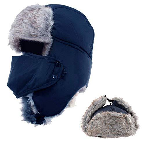 AYAMAYA Wintermütze Fliegermütze für Herren Damen, Warm Fellmützemit Ohrenklappen Klassische Trappermütze Russische Mütze (Blau)
