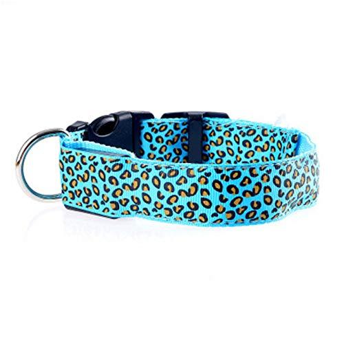 Leopardo LED Suave cómodo Nylon Pet Collar, Cuello de Perro de Hebilla de Seguridad Ajustable 2 PCS,5,L