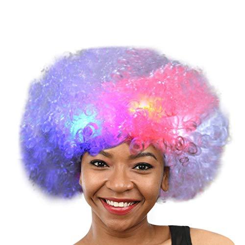 DOGZI Perücke Kostüm Langhaar Haarnetz, Party Disco LED Flash Clown Haar Fußball Fanerwachsener Afro Maskerade Haar Perücke
