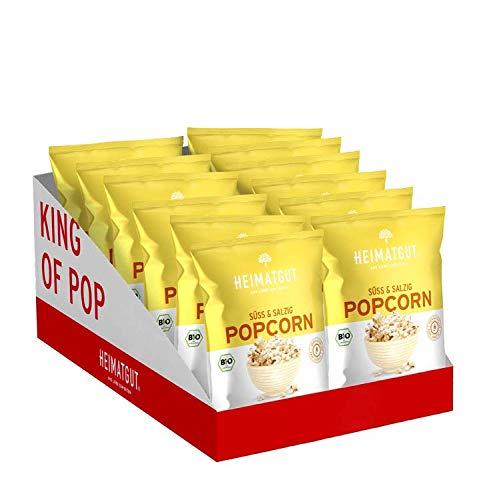 Heimatgut BIO Popcorn Süß & Salzig Maxi, Vegan & Glutenfrei, 12 x 90g Vorteilspack
