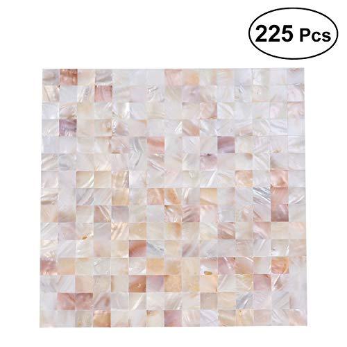 SUPVOX Mattonelle di piastrella Quadrato Naturale Shell Mosaico Modello di Piastrelle di Ceramica per Cucina Bagno pareti termali Piscine Soggiorno 225pcs