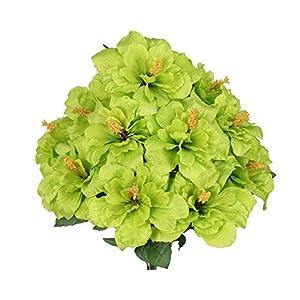 Artificial Silk Flowers Green Hibiscus Bush 12 20″ Bouquet Get 1 Bush MG019