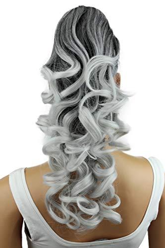 PRETTYSHOP 40cm Haarteil Zopf Pferdeschwanz Haarverlängerung Voluminös Gewellt Ombré Grau Mix H141