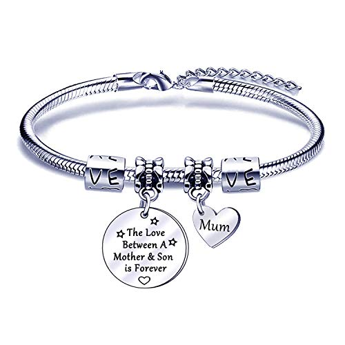 Mother and Son Bracelet Gifts from Son Mum Bangles Silver Charm Bracelets for Mother - The Love Between a Mother and Son is Forever
