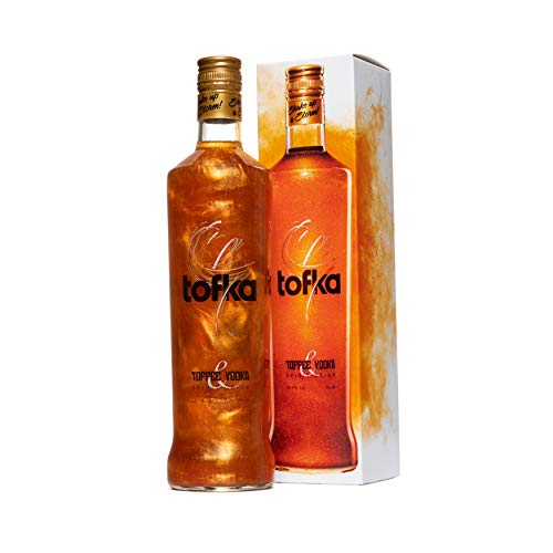 TOFKA Toffee Vodka with Golden Glitter Shimmer Effect, Perfect for Shots,...