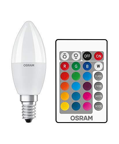 OSRAM STAR+ RGBW LED Lampe mit E14 Sockel, RGB-Farben per Fernbedienung änderbar, 5.5W, Kerzenform, Ersatz für 40W-Glühbirne, matt, LED Retrofit RGBW lamps with remote control, Einzelpack