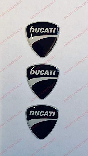Ducati Logo Aufkleber, Harz, 3D-Effekt, für Tank oder Helm, Schwarz / Weiß