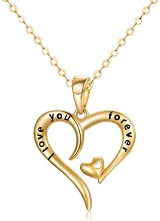 14k Gold I love You Forever Heart Necklace for Women Real Gold Love Jewelry for Her Anniversary product image