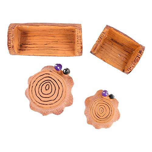 WINOMO Résine Souche d'arbre pour Mousse Micro Paysage Décor Miniature Accessoires de Souche Banc Maison de Poupée Miniature Fée Jardin Fournitures 4 Pcs