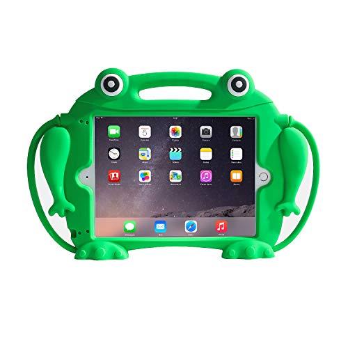 CHIN FAI Kinder-Hülle für iPad 9.7 2018 2017 / iPad Air 1 2 / iPad Pro – [Eye-Popping Toys] Stoßfester Silikongriff Ständer Frosch Schutzhülle für Apple iPad 5. 6. Generation (grün)
