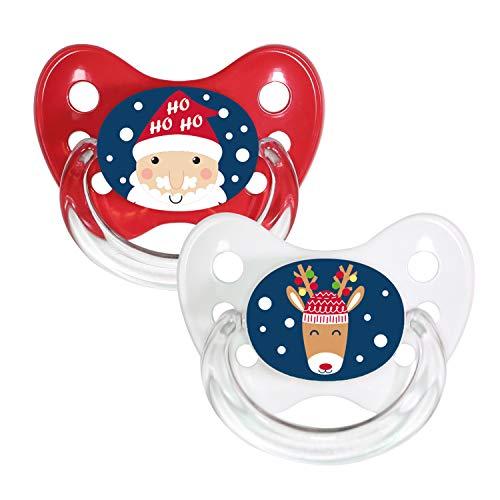 Dentistar® Silikon-Schnuller 2er Set mit Kappe - Größe 1, 0-6 Monate - Merry Christmas - zahnfreundlich und kiefergerecht - BPA frei - Weihnachtsmann + Rentier