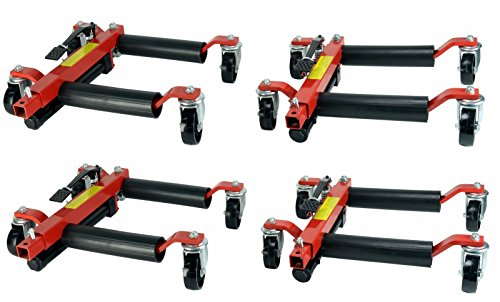 Dragway Tools (4) Hydraulic Wheel Dolly 12 Wide Lift Jack Hoist 1500 lb Shop Tool Foot Pump by