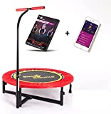 Boogie Bounce Mini Fitness Trampoline With Patented Adjustable T-Bar Handle. Indoor Exercise Rebounder Workout For Fun & Effective Fitness. Max Weight 25st. DVD & App Trial. Safe for Adults & Kids.