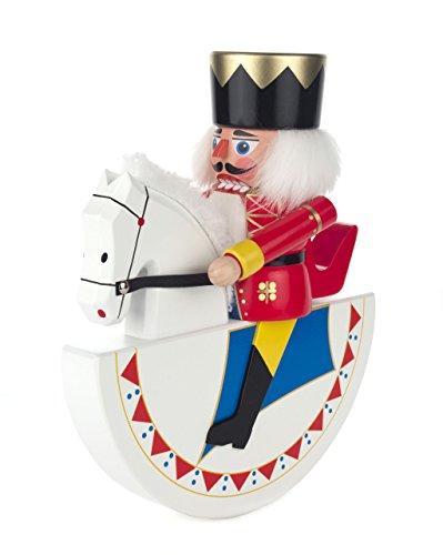 Nussknacker Figur Reiter Husar, weiß-rot von DREGENO SEIFFEN 27,5 cm – Original erzgebirgische Handarbeit, Weihnachts-Dekoration
