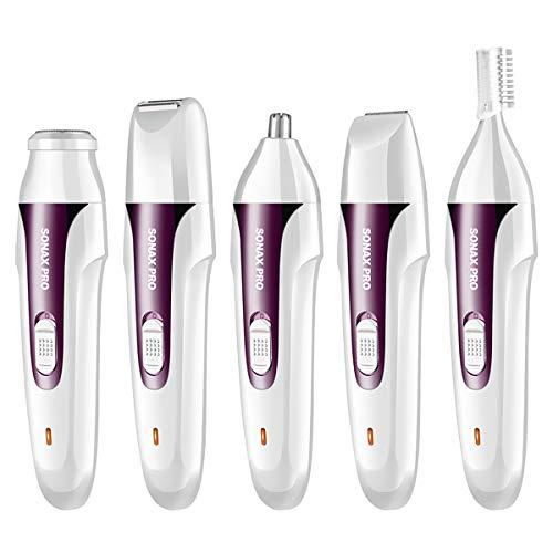 Donne 5 in 1 ricaricabile elettrico epilatore capelli rasoio elettrico della signora trimmer impermeabile rasoio per zona bikini naso ascella gamba-B