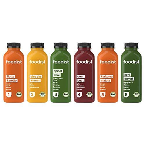 Foodist BIO Saftkur 1 Tag, 6er Pack, kaltgepresste Säfte, glutenfrei und laktosefrei inkl. Anleitung und Rezeptbuch - ( 18 x 500ml )