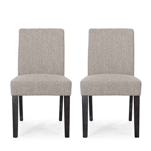 Christopher Knight Home Boling Contemporary Upholstered Dining Chair (Set of 2), Light Gray + Gray