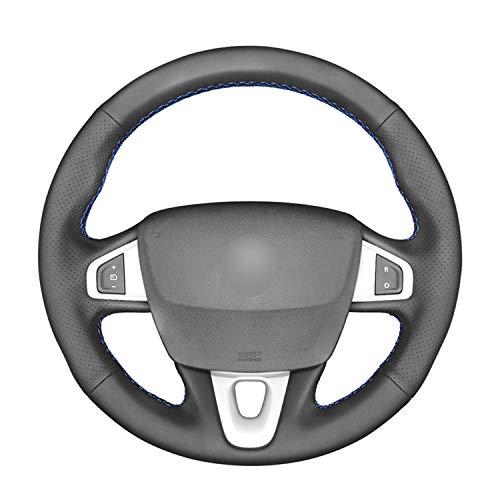 VNASKH Cubierta de Volante de Cuero Negro de PU Cosida a Mano, para Renault Megane 3 (Coupe) RS 2010-2016
