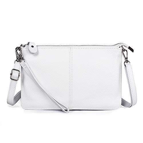Befen White Leather Wristlet Clutch Wallet Purse, Mini Crossbody Bag Shoulder Pouch for Women - Fit iPhone 11 Pro Max