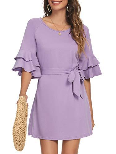Missufe Bell Sleeve Short Beach Dress Women's Tie Waist Shift Sundress (Light Purple, X-Small)