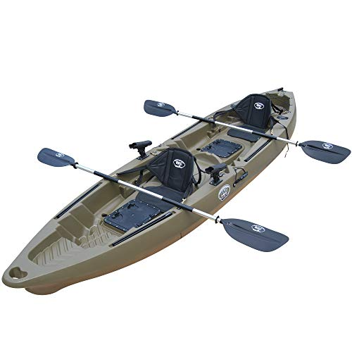 BKC TK122K 12' 6' Tandem 2 or 3 Person SIt On Top Fishing Kayak w/Soft Padded Seats, 2 Paddles and 4...