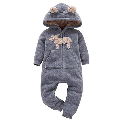 Kolylong® Strampler 1 PC (6-24 Monate) Baby Jungen Mädchen Dicker Spielanzug mit Kapuze Herbst Winter Warme Outfits Kleidung Overall Romper Mantel Kleiderset Babykleidung (65CM(0-6 Monate), Grau)