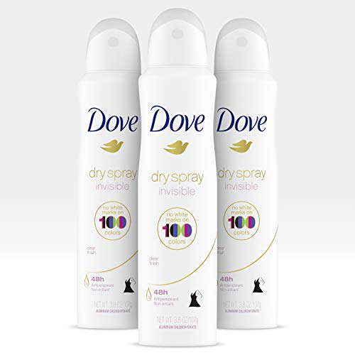 Dove Antiperspirant Deodorant Dry Spray For Antiperspirant Protection Clear Finish Sweat Block for All-Day Fresh Feeling 3.8 oz, 3 Count