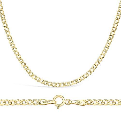 Cadena plana de oro amarillo de 18quilates / 750 ley, unisex, 2,3 mm de ancho, varias longitudes disponibles