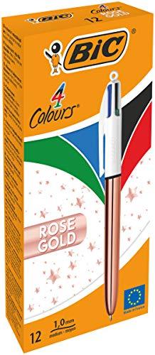 Bic Bolígrafo de punta de 1 mm, color oro rosa, 4 colores, 12 unidades