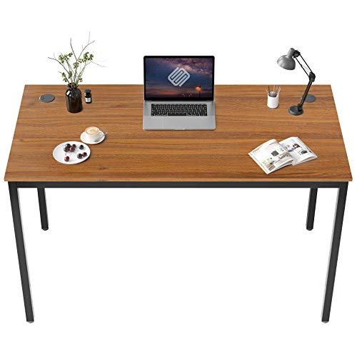 EUREKA ERGONOMIC 47 inch Simple Computer Desk for Home Office Writing Table for Workstation W Cable Grommet, Teak