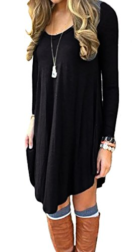 POSESHE Women's Long Sleeve Casual Loose T-Shirt Dress Black L